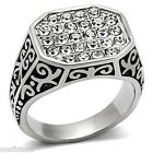 Mens Multi Crystal Pave Filigree Design Silver Stainless Steel Ring
