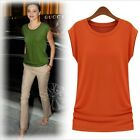 New HOT Fashion Women's Round Collar Solid Short-sleeved T-shirt Top Blouse