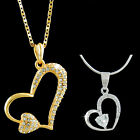 18K 18CT Rose GOLD GP NECKLACE Heart PENDANT SWAROVSKI CRYSTAL Simulated DIAMOND