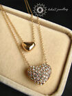 Double Hearts Pendant/Double Chains/Necklace/Simulated Diamond Crystal/RGN099