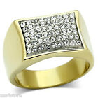 Mens 54 Clear St. Pave 18Kt Gold Plated Two Tone Stainless Steel Ring