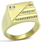 Mens Sixteen Clear Crystal Flat Top Gold Plated Stainless Steel Ring