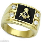 Mens Black 4th Masonic Mason Gold Plated Stainless Steel Ring