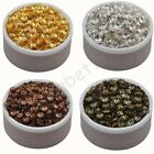 800 Pcs Gold & Silver & Bronze & Brown Plated Flower End Beads Caps Charms 6 mm
