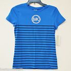 NEW-MICHAEL KORS BLUE+BLACK STRIPES SHORT SLEEVE CREW NECK TEE SHIRT+GOLD TONE