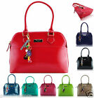 Womens Ladies Celebrity Style Designer Faux Leather Tote Handbag With Charms