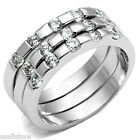 3 Piece Band Set  Clear Stones Silver White Gold EP Ladies Ring
