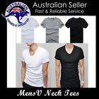 Mens V neck T shirts Plain Casual T shirt Muscle Tee Sexy Slim Fit Wear