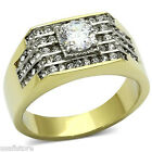 1.45ct  Clear CZ Stone & 56 Crystal Gold EP Mens Tutone Stainless Steel Ring