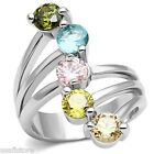 Ladies Five Multi Color CZ Stones White Gold Plated Ring