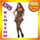C763 Private First Class Army Military Camo Uniform Fancy Dress Womens Costume
