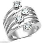 Ladies Four Clear CZ Stones Silver White Gold EP Ring