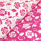 FQ - FUNKY FLOWER LEAVES RETRO PRINTED on WHITE or PINK 100% COTTON FABRIC #VA20