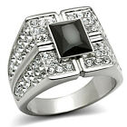Mens Jet Black Stone with Full Crystal Silver Stainless Steel Ring
