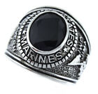 Mens Jet Black CZ US Marines Military Silver Stainless Steel Ring