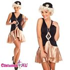 Black Flapper Costume 1920's Chicago Gangster Fancy Dress Costume Full Outfit