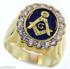 Mens Eighteen CZ Masonic Mason Logo Blue 18kt Gold Plated Ring