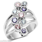 Ladies Nine Multi Color Round Stones White Gold Plated Ring