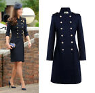 Women Double Breasted Cashmere Wool Blend Long Jacket Trench Princess Kate Coat