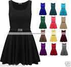 Womens Belted Sleeveless Flared Franki Party Skater Top Dress Plus Size 16-26