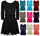Women's Girls Ladies Pleated Flared Party Dress 3/4 Sleeves With Belt Scoop Neck