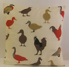 SINGLE CUSHION COVERS KITCHEN DUCKS CHICKENS HENS GEESE RED BROWN CREAM BEIGE
