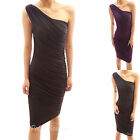 Ruched One Shoulder Sleeveless Stretch Fully Lined Cocktail Dress