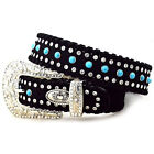 HAIR ON HIDE LEATHER RHINESTONE TURQUOISE WESTERN BELT BLACK KATYDID S M L XL