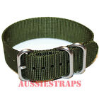 PREMIUM ZULU 3 Ring KHAKI GREEN 20mm,22mm,24mm Military Diver's watch strap band