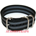 PREMIUM ZULU® 3 Ring BLACK GREY 20mm 22mm 24mm Military Diver's watch strap band