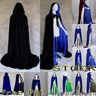 2013 Blue Velvet Medieval Hooded Cloak/coat/Cape Wedding Shawl Halloween STOCK