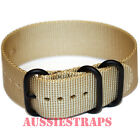 PREMIUM ZULU PVD 3 Ring TAN SAND 20mm,22mm,24mm Military Divers watch strap band