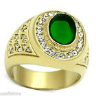 Mens Green Dome Stone 18kt Gold Plated Stainless Steel Ring