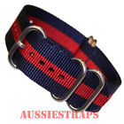 PREMIUM ZULU 5 Ring NAVY RED military diver's watch strap band NYLON new