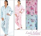 Ladies Brushed Fleece Pyjamas. Floral Design. Pink Or Blue. 10/12 14/16 18/20