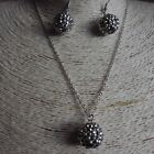 14mm Shamballa Beads Necklace Matching Earrings Crystal and Sparkling Many Cols