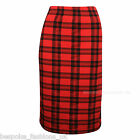 New Women's Ladies Check Tartan Elasticated Waist Pencil Midi Office Skirt SM ML