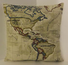 SINGLE DESIGNER WORLD ATLAS MAP CUSHION COVERS CREAM BLUE  BLACK CREAM BACK