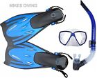TYPHOON BLUE TM2 + T-JET Diving Mask Snorkel fins SET