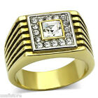 Mens Classic Square Dome Gold Plated Stainless Steel Ring