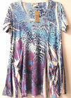 LADY NOIZ PEACOCK FEATHER BLUE PURPLE TUNIC SHIRT CLOTHING TOP MISS S3081 1x 2x