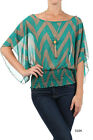 Chevron Zig Zag Multi Color Teal Taupe Dolman Sleeve necklace women Top Shirt