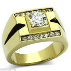 Mens 1.85ct Round Cut Clear CZ Stone Gold Plated Stainless Steel Ring