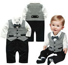 1pc Toddler Boy Kids Baby Bowknot Gentleman Romper Jumpsuit Outfit Clothes Gray