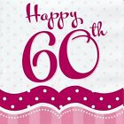 PERFECTLY PINK 60TH BIRTHDAY PARTY NAPKINS BANNER TABLE COVER BALLOONS CANDLES