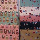 Russian, Matryoshka, Babushka Dolls Fabric FAT QUARTER on Cream Green Pink Blue.
