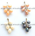 variations color 5-6mm freshwater pearl leaves shape white gold plated pendant