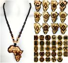 ETHNIC INSPIRED: MENS WOMENS AFRICA ADINKRA BROWN BLACK LONG PENDANT NECKLACE