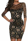 John Zack Black and Gold Stretch Lace Bodycon Mini Party Dress New 8 - 18