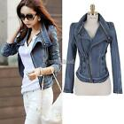 Women Stylish Punk Lapel Zipper Denim Jean Coat Jacket Slim Outerwear Zip Up WST